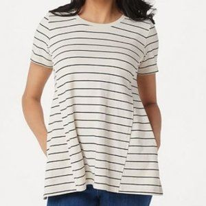 LOGO Washed Striped Knit Top with Swing Hem 1175